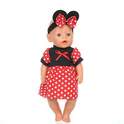 Fit For 18'' American Girl Minnie Mouse Dress Disney Ear Headband Doll Clothes
