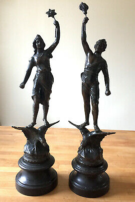 """Pair Antique French Spelter Figures/Statuettes bronzed """"Day & Night"""" Boy & Girl"""
