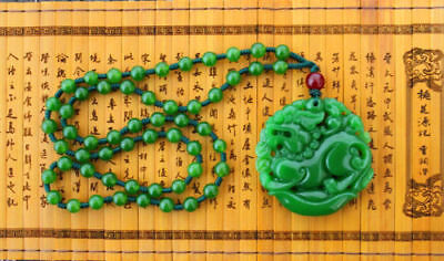 "Chinese green jade hand carving ""China Dragon"" Good luck necklace pendant"