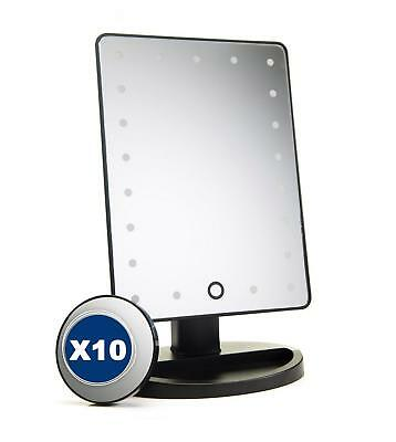 LED mirror with portable 10x magnification mirror