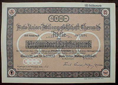 German Car Manufacturer AUDI 100 Reichsmark Chemnitz 1932 uncancelled