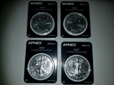 Lot of 4 ~ FOUR 2017 1 oz Silver American Eagle (MintDirect® Single)
