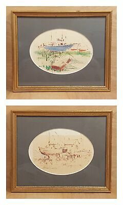 Set of 2 SIGNED Art PAINTING ~ Howard CONNOLLY ~ Boat SHIP Harbor Nautical