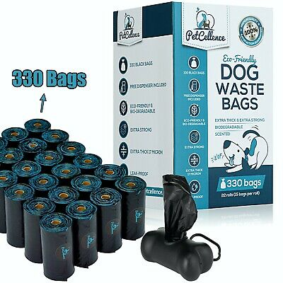 Dog Poo Poop Waste Bags Biodegradable Eco Friendly LEAD DISPENSER 330/660 Bags