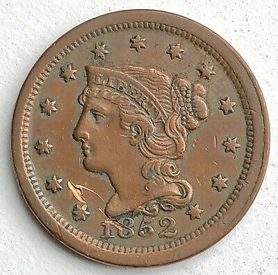 1852 Braided Hair  Large Cent Penny