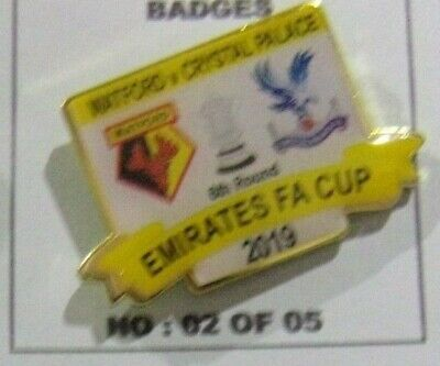 Crystal Palace Watford Cup Quarter Finals Limited Edition Yellow 2019 Badge