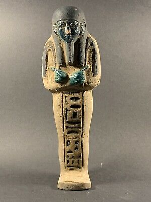 Beautiful -Very Large Ancient Egyptian Stone Shabti With Colours & Hieroglyphics
