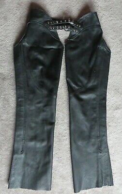 "Black Leather Motorcycle Chaps  34 -- 36""  X  32""  or shorter when cut off"