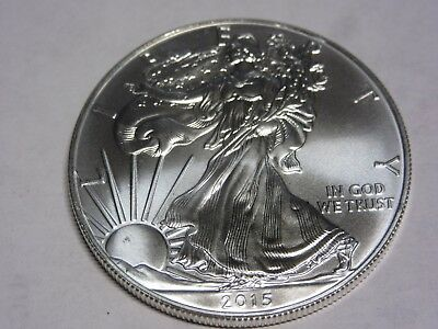 2015 .999 Pure  Silver American Eagle 1 Oz.  Brilliant Uncirculated Pristine