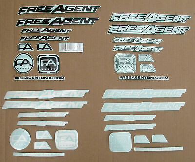 Replacement Decals- Choose Black White FREE AGENT Frame /& Fork Set Blue Etc.