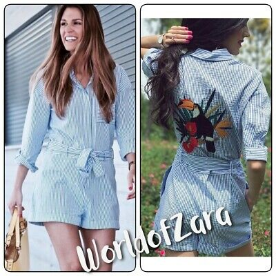 e089179c35 NWT ZARA JUMPSUIT WITH EMBROIDERED BACK 0787 056 Blue White XS Bloggers  Fav