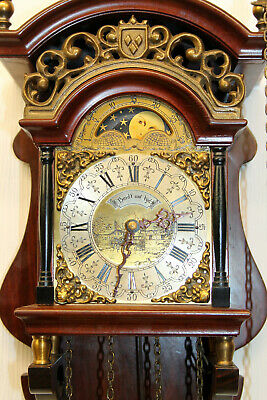 *Old Wall Clock Dutch Sallander Clock Vintage with Moonphase *