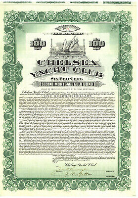 Chelsea Yacht Club. Bond Certificate. New Jersey