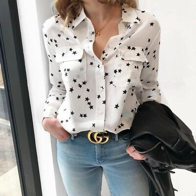 d4593d533e078 NWT EQUIPMENT SLIM Signature Silk Shirt Bright White Star Print Size ...