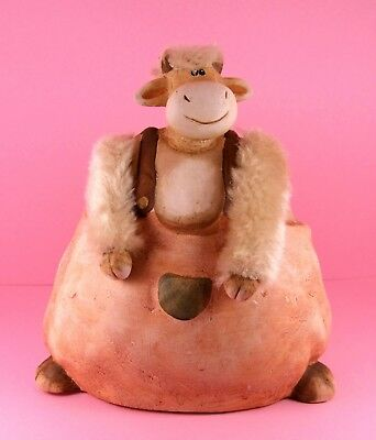 Cute And Funny Large Ceramic Fat Cow Figurine Ornament Figure With Fur Details.