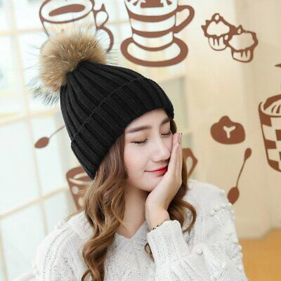 Winter And Autumn Large Sized Fur Hat With Fur 15cm Pompom Ball Top Beanies NR