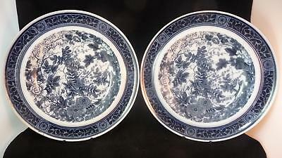"""PAIR ANTIQUE BROWN-WESTHEAD, MOORE BLUE & WHITE 10"""" PLATES ARCADIA PATTERN c1880"""