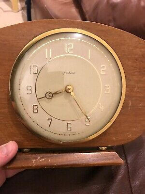 Vintage Wind Up Wooden Mantle Clock Bentima Germany Gold Working Plinth Retro
