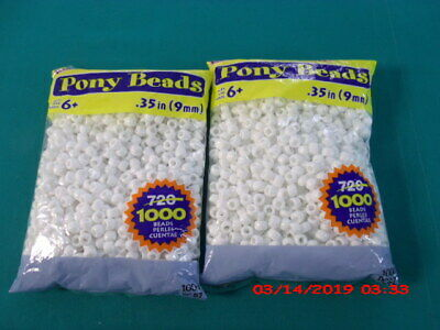 2- Pack- 1000 Count Pony Beads, White Opaque, Great Craft Projects For All Ages