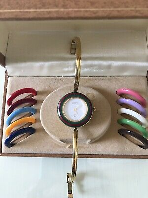 8ea5f738f20 Vintage Gucci Watch Interchangeable bezels Bangle Wristwatch w box 1100-L
