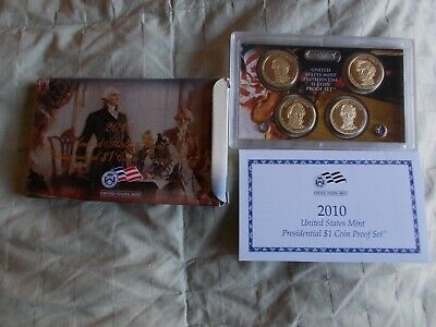 2010 US Mint Presidential $1 Coin Proof Set in Original Box with COA 4 Coin Set