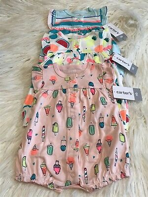 3e10a38a7fb4 NEW CARTERS Infant Baby GIRL Size NB NEWBORN ROMPER Set Outfit ICE CREAM  FRUIT