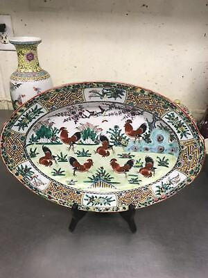 """14"""" Chinese Antique Famille Rose Porcelain Big Plate"""