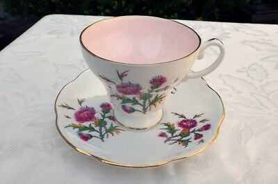 Vintage EB Foley Tea Cup and Saucer with Thistles
