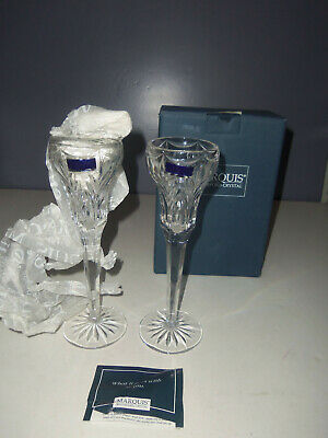 """New Marquis By Waterford Crystal Canterbury 8.5"""" Candlesticks One Pair Germany"""