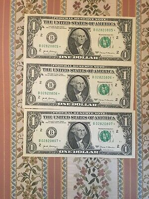 Lot Of 3 2017 $1 Dollar Bill Brand New Uncirculated STAR NOTE *