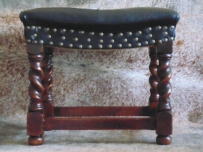 Edwardian leather and Oak Footstool/ Chair
