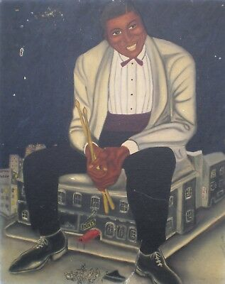RARE VINTAGE 1940'S ERA AFRICAN AMERICAN PHILLY JAZZ PLAYER PAINTING poster art