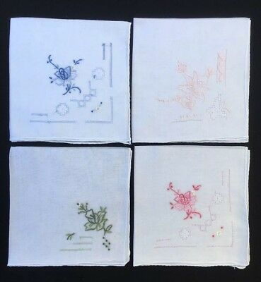 4x Vintage Hand Embroidered Ladies Handkerchiefs As New