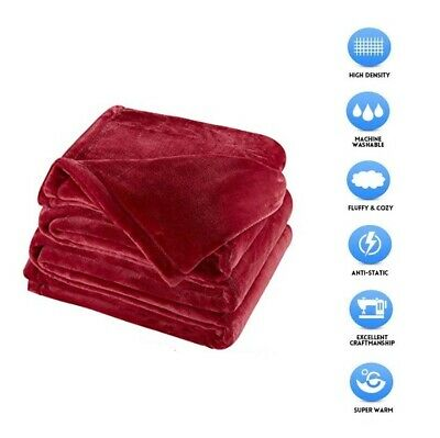 "Sonoro Kate Fleece Blanket Soft Warm Throw Size 60"" X 43"" Inches Burgundy Comfy"