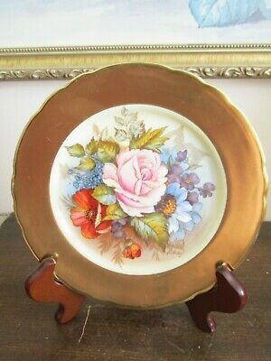 """Aynsley England Handpainted Dessert Plate Roses Gold Signed J A Bailey 6.5"""""""