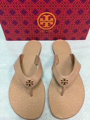 99fdda982 Tory Burch Monroe Leather Thong Sandals Light Makeup Size 8 Brand New NIB   138