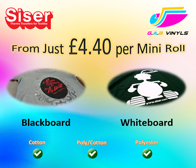 Mini Rolls Siser Blackboard & Siser Whiteboard HTV Vinyl 500mm x 300mm approx