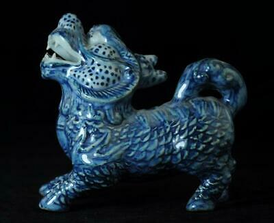 Collection Chinese Old Hand-Made Blue And White Porcelain Kylin Statue C01