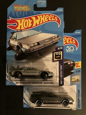 2019 Hot Wheels ~ Back to the Future TIME MACHINE ~ HOVER MODE And DMC DELOREAN