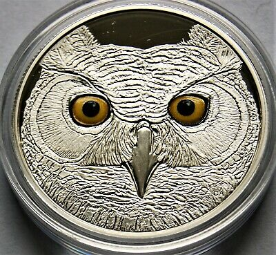 2017 Canada In the Eyes of the Great Horened Owl Glow-in-the-Dark Silver Proof