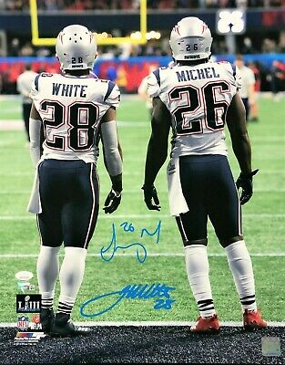 5bb2ac3a95e James White Sony Michel New England Patriots Signed SB 53 16x20 FANATICS JSA