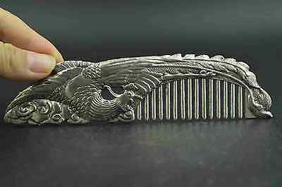Chinese  Old  copper plating silver Carving Phoenix Rare Lucky Noble Comb a01