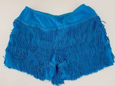 GIRLS DANCE shorts with fringe.  Size 8. Electric blue. 2nd hand