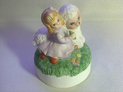 Music Box Adorable Little Girl Feeding Lamb (Tune Unknown) Vintage MIC Porcelain
