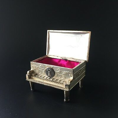 Antique Occupied Japan Silver Plate Miniature Piano Jewelry Trinket Box Lacquer