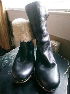 4440931e9c6 UGG BLACK LEATHER Lynnea Shearling Booties Boots! 9 $265 - $49.99 ...