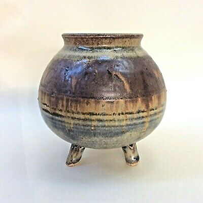 Australian Studio Pottery Footed Pot Vase Multi-Colour Drip Glaze Tripod