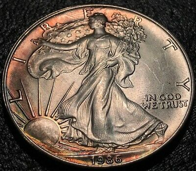 1986 NICELY TONED American Silver Eagle NATURAL Toning ASE 1 Oz .999 Dollar UNC