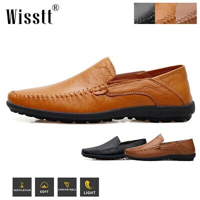 Retro Vogue Men's Slip On Loafers Leather Driving Moccasins Casual Shoes Brown