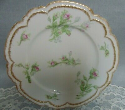 Charles Haviland Limoges GDA Lunch Dessert Plate Moss Rose Double Gold